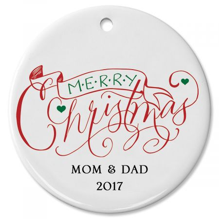 Merry Christmas with Banner Round Christmas Personalized Ornaments