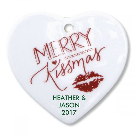 Merry Kissmas Heart Personalized Christmas Ornament