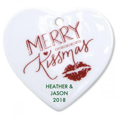 Merry Kissmas Heart Christmas Personalized Ornaments