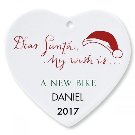 Dear Santa Heart Personalized Christmas Ornament
