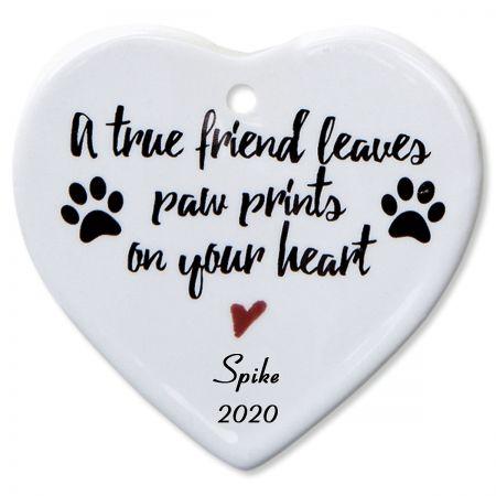 A True Friend Heart Pet Memorial Christmas Personalized Ornaments