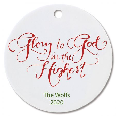 Glory to God Round Christmas Personalized Ornaments