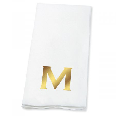 Bold Initial Foil-Stamped Disposable Hand Towels