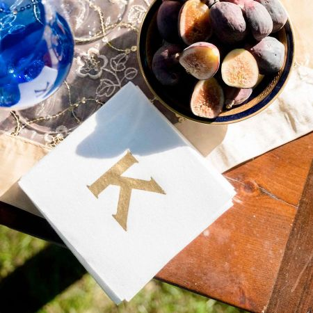Copperplate Initial Cocktail Napkin by Designer Jillian Yee-Pham