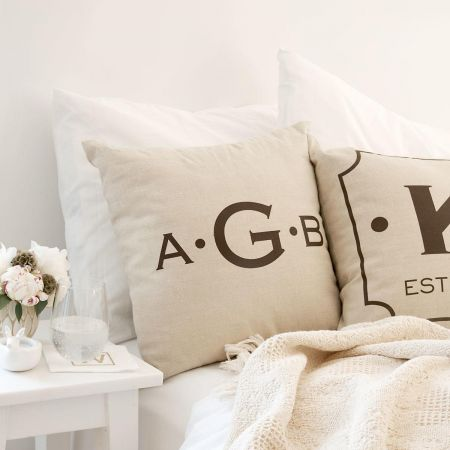 Initials with Dots Pillow by Designer Jillian Yee-Pham