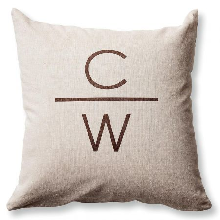 2 Initials with Line Pillow by Designer Jillian Yee-Pham