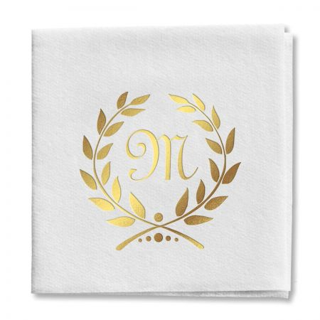 Wreath Initial Cocktail Napkins