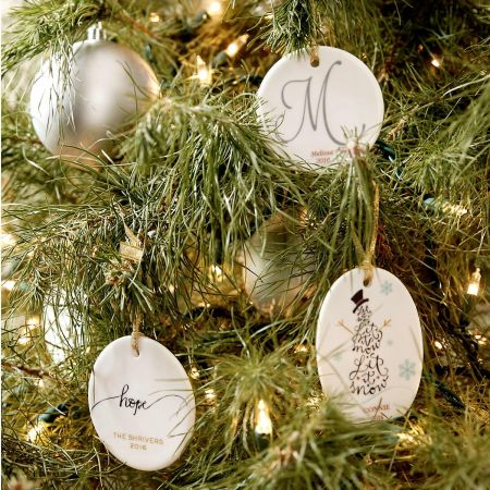 Initial Round Christmas Personalized Ornaments