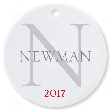 Name with Initial Round Christmas Personalized Ornaments