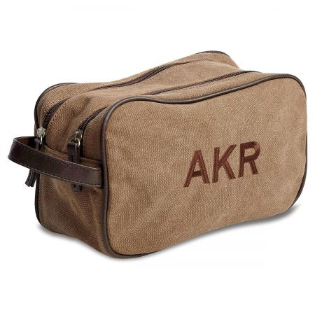 Monogrammed Tan Toiletry Bag