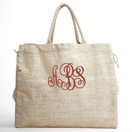 Monogrammed Herringbone Shopper