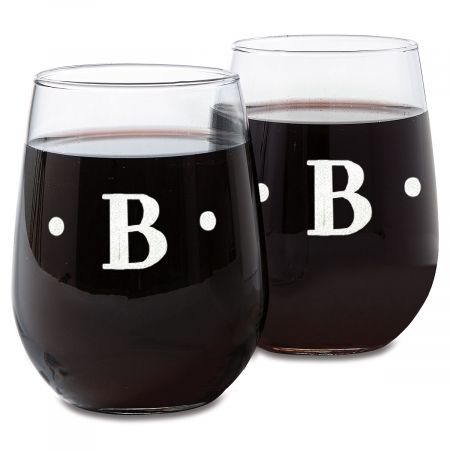 Stemless Wine Glass with Initial