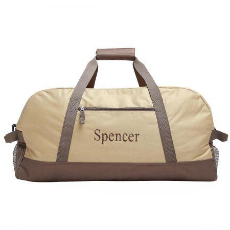 Beige and Brown Duffel Bag