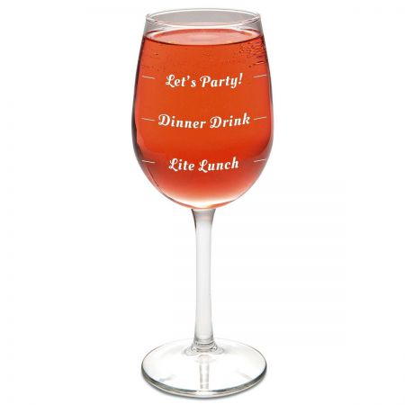 Let's Party Stemmed Wine Glass