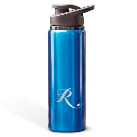 Aluminum Water Bottles with Heart-Blue-816395B