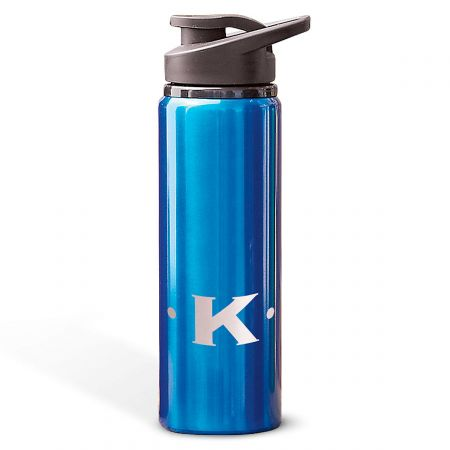 Aluminum Water Bottles with Initial-Blue-816396B