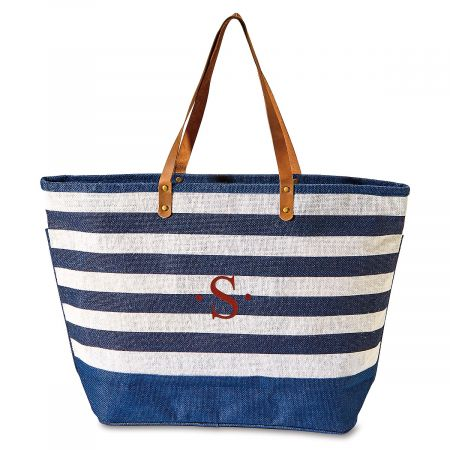 Navy & White Jute Initial Tote Bag