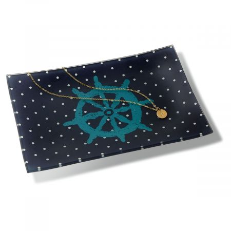 Ship Wheel Glass Trinket Tray