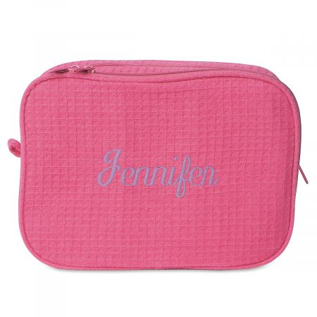 Waffle Weave Personalized Cosmetic Bag - Hot Pink w/Lavender