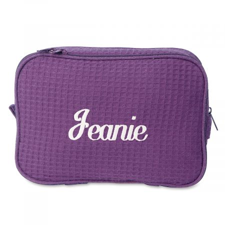 Waffle Weave Personalized Cosmetic Bag - Purple w/White
