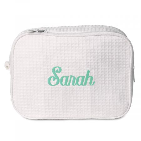 Waffle Weave Personalized Cosmetic Bag - White w/Green & Navy