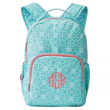 Mint Damask Backpack - Monogram