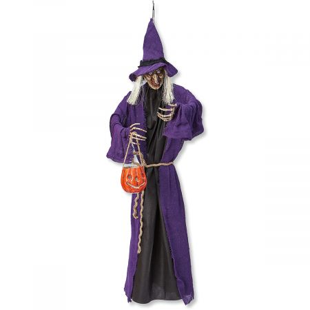Purple Hanging Witches with LED Lights