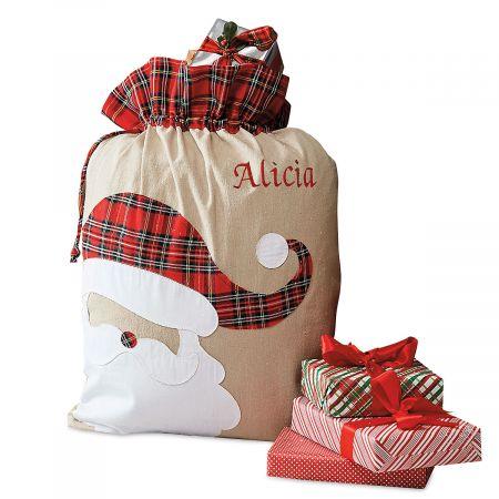 Santa Personalized Tartan Christmas Sack - Name
