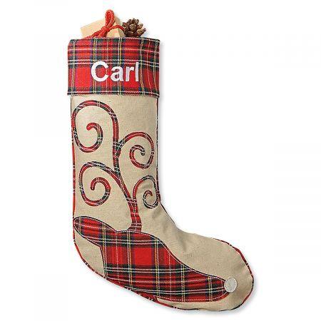 Reindeer Tartan Personalized Christmas Stocking