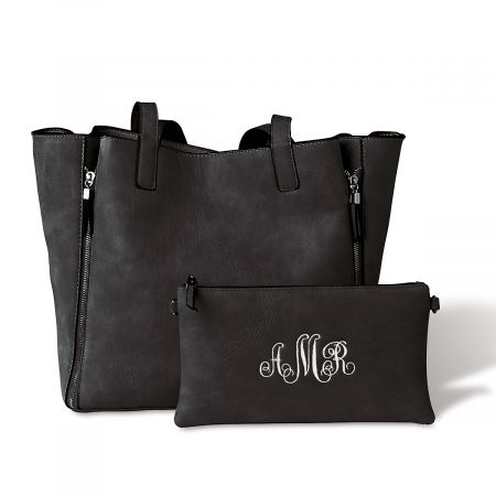Black Carry-All Bag with Matching Personalized Crossbody Purse