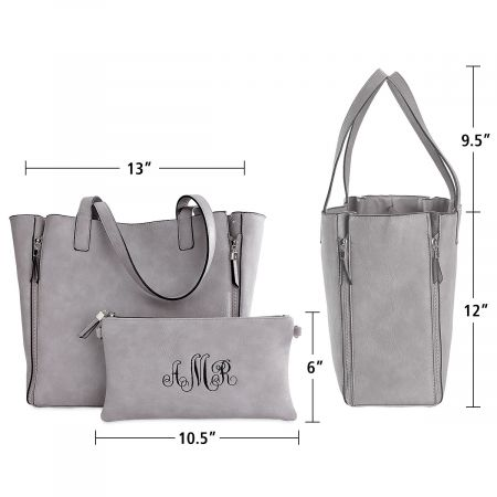 Personalized Gray Carry-All Nora Tote Bag with Matching Crossbody Purse