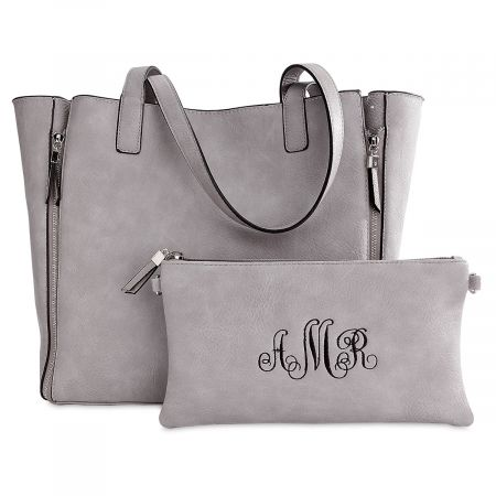 3969c1c73bc5 Gray Carry-All Bag with Matching Personalized Crossbody Purse ...