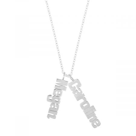 Personalized Silver Vertical Name Plate Necklace with Chain