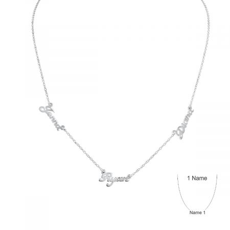 Personalized Silver Plate Multi Name Necklace
