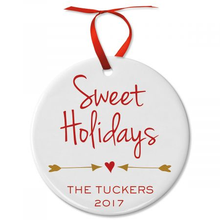 Sweet Holidays Round Christmas Personalized Ornaments