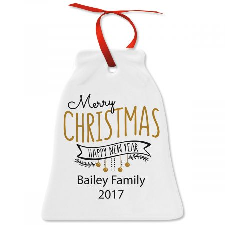Merry Christmas & Happy New Year Bell Christmas Personalized Ornaments