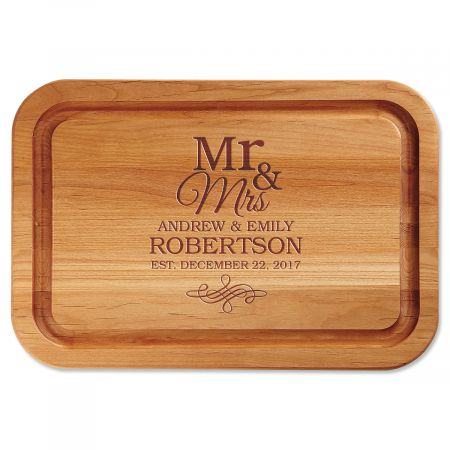 Personalized Mr. & Mrs. Wood Cutting Board
