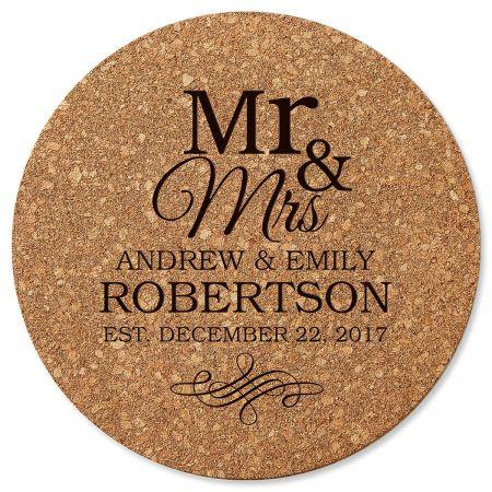 Personalized Mr. & Mrs. Round Cork Trivet