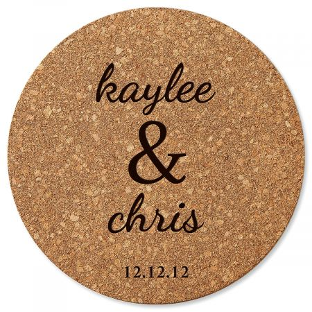 Couple's Round Personalized Cork Trivet