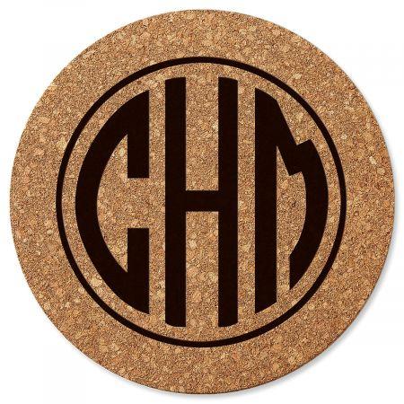 Circle Monogram Round Personalized Cork Trivet
