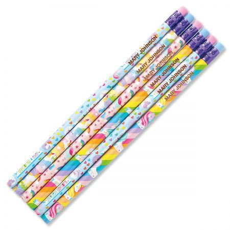 #2 Personalized Hardwood Pencils - Unicorn
