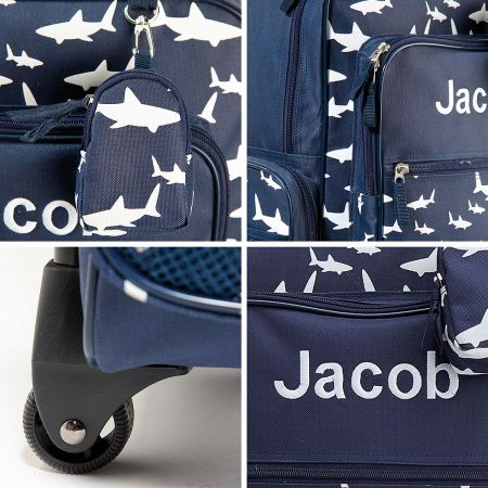 Navy Shark Personalized Rolling Luggage
