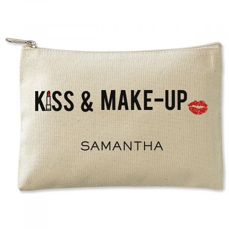 Personalized Kiss & Make-Up Zippered Canvas Pouch