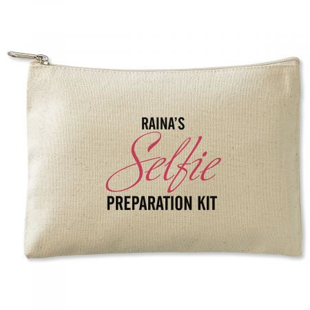Selfie Prep Kit Zippered Personalized Canvas Pouch