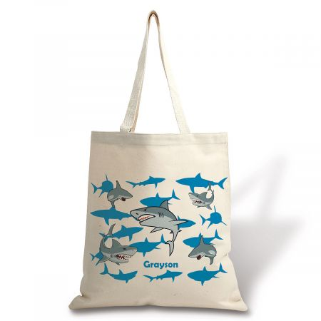 Personalized Sharks Canvas Tote