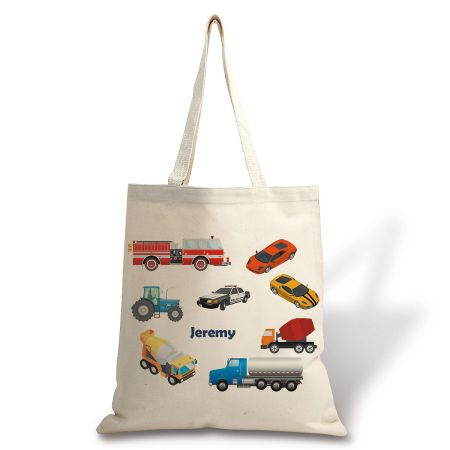 Personalized Cars Canvas Tote