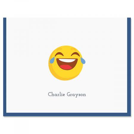 Navy LOL Emoji Note Cards