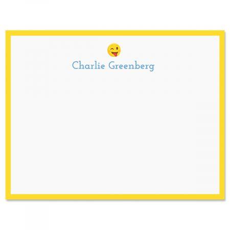 Yellow Silly Wink Emoji Correspondence Cards