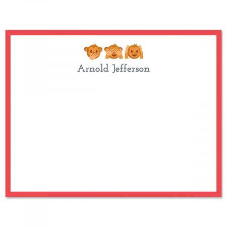 No Evil Monkey Emoji Correspondence Cards