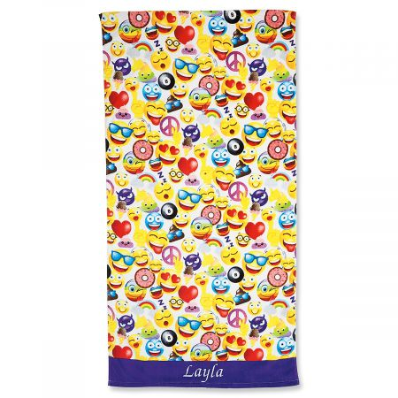 Personalized Emoji Beach Towel